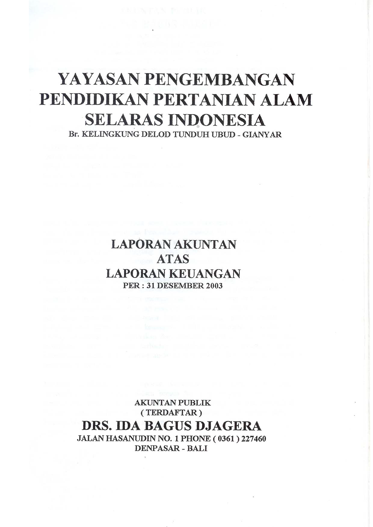 idep auditor report 2003 id