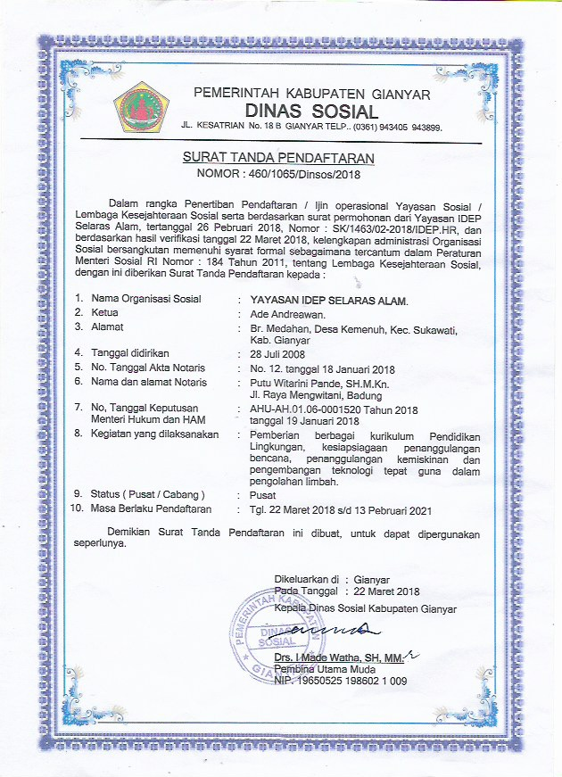 IDEP License Registration Social Minister