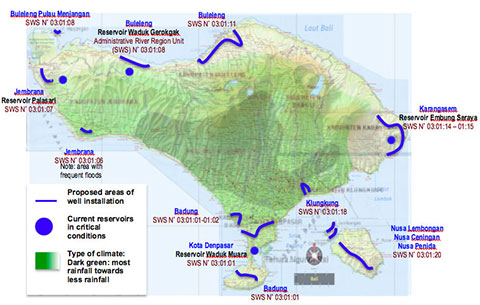 IDEP Foundation - Bali Water Protection Program - Map of Intervention Area